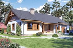 Dream House Interior, Dream Home Design, Home Design Plans, House Design, Bungalows, Small House Exteriors, 100 M2, Rural House, Exterior Paint Colors For House
