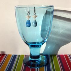 Earrings in white and light blue with silver by SaijaSkills, €7.00