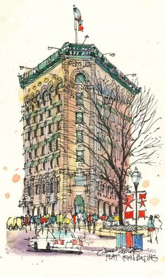 https://flic.kr/p/mjYQti | Fort Worths Flat Iron Building | Drawn during Urban Sketchers Texas 3-22-14 outing