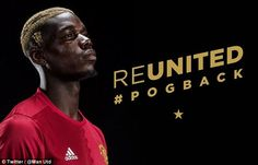 Both carried the wording REUNITED and #pogback in gold letters, matching Pogba's hair colour