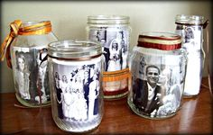Recycled chic... Just did this with an empty jar of pasta sauce! Pot Mason, Mason Jars, Mason Jar Picture, Bottle Picture, Pots, Display Family Photos, Photo Displays, Design Crafts, Glass Jars