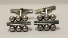 GEORG JENSEN Denmark STERLING Silver #61 CUFFLINKS danish mid-century modern #GeorgJensen