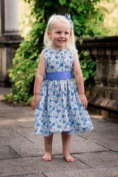 "Liberty Print Sash Blue Flower Girl Dress - ""Lucie"""