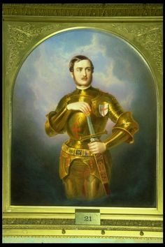 Portrait of the Prince Albert consort of England in the medieval armor