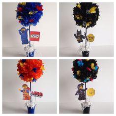 Lego Movie birthday party decoration, centerpiece, centerpieces, Emmet, batman, wyldstyle, benny, lego by AlishaKayDesigns on Etsy