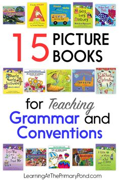 Looking for some picture books to spice up your grammar instruction? Here are 15 picture books for teaching grammar in Kindergarten, first, and second grade! Grammar Games, Grammar Book, Grammar Activities, Grammar Lessons, Writing Lessons, Grammar Practice, Listening Activities, Vocabulary Games, Writing Ideas