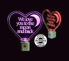 We love you to the moon and back night light. Add a name to personalize #valentinesday #love #nightlight #uniqueledproducts #lightuplife #cleveland #localcle