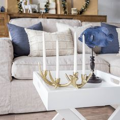 This gorgeous gold antler candelabra is a beautiful display piece always although it truly shines at christmas time making a beautiful statement for centre pieces  side tables and even coffee tables.