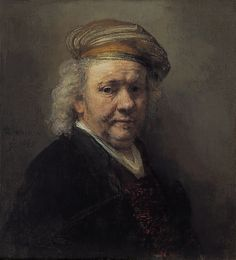 Rembrandt van Rijn (1606-69): Self Portrait (1669) Rembrandt painted more than 80 self portraits - more than any other artist. This one has a special place as it is the last one he painted shortly before he died. Typical of his late style, it is quite loose and sketchy, characterized by broad brushstrokes, except the eyes, which are rendered with precision.