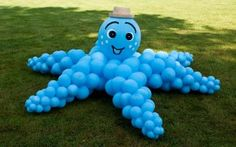 Balloon sculpture of Octopus, made for a underwater birthday party.  We have made 3 of them, all three as lovely as this one.  wowballoons.com