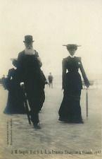Le roi Léopold II de Belgique et sa fille Clémentine à Ostende Vintage silver Pr