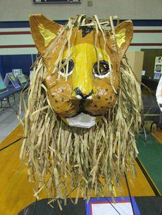 My 3rd grade student's paper mache lion mask; lesson by art teacher: Susan Joe