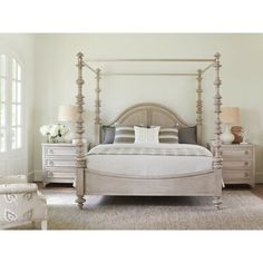 Shop the Lexington Heathercliff French Country Beige Turned Wood Canopy Bed - California King and other Beds at Kathy Kuo Home Lexington Home, Girl Bedroom Designs, Bedroom Set, Furniture, Bed Sizes, Wood Canopy Bed, Modern Bedroom, Wood Canopy, Luxurious Bedrooms