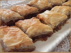 This is a Northern twist on a global classic. Rhubarb grows well here in North Dakota and we are always looking for fun ways to use it. Free tutorial with pictures on how to bake baklava in under 40 minutes by cooking and baking with butter, sugar, a. Rhubarb Desserts, Rhubarb Recipes, Rhubarb Ideas, Rhubarb Dishes, Baking Recipes, Dessert Recipes, Dessert Bars, Dessert Ideas, Cake Recipes