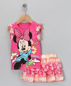 Take a look at this Pink 'Minnie' Top & Ruffle Skirt - Toddler by Disney on #zulily today!