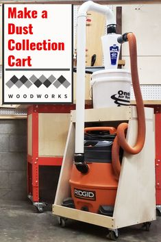 Having a mobile dust collection cart is a great way to step up your shop's dust collection. This dust collection cart has a minimal footprint. Woodworking Shop Layout, Woodworking Workshop, Woodworking Projects Diy, Woodworking Basics, Woodworking Techniques, Workshop Storage, Workshop Organization, Tool Storage, Storage Design