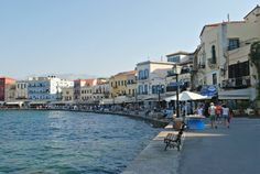 The boardwalk of the old port in Chania, Crete