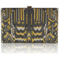 Judith Leiber Couture Sideways Crystal Evening Clutch Bag featuring polyvore, women's fashion, bags, handbags, clutches, silversilvernight, special occasion handbags, crystal handbag, beaded evening purse, beaded purse and kiss-lock handbags
