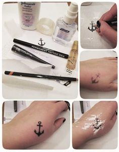 How to Make a Temporary Tattoo - DIY fake tattoo- wear a tattoo that you want for a while to make sure you actually like it ( www. Diy Fake Tattoo, Tattoo Diy, Get A Tattoo, Tattoo Ideas, Tattoo Maori, Armband Tattoo, Temp Tattoo, Temporary Tattoo Sharpie, Diy Tattoo Permanent