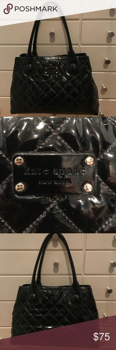 Authentic Large Kate Spade Quilted Purse Very pretty, classic, and soft patent leather purse. There are a few signs of use, but in overall good condition. One of the bottom corners is slightly worn.  The center pocket has a few pen marks and make-up stains, but the rest of the interior is clean.  Just the right size ... you will get A LOT of compliments on this bag!  White kitty not included!      Thanks, Cathy! Kate Spade Bags Shoulder Bags