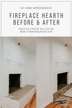 REMOVING OUR FIREPLACE'S BRICK HEARTH Home Improvement, Brick Hearth, Diy Porch, Minimal Home, Home Diy, Brick, Circle House, Fireplace, Brick Fireplace