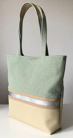 Shoulderbag, green, Silver, brown clair