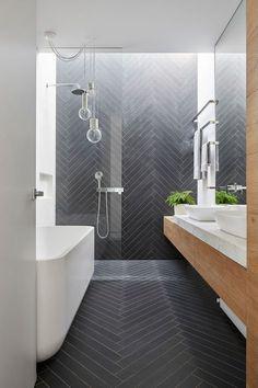 100 Beautiful Bathrooms to Help You Achieve Spa Status : Modern Bathroom Slate Herringbone Tile Bathroom Renos, Laundry In Bathroom, Bathroom Towels, Bathroom Renovations, Bathroom Wall, Bathroom Grey, Bathroom Makeovers, Remodel Bathroom, Decorating Bathrooms