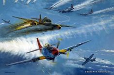 Aviation art by Robert Bailey featuring the Tuskegee Airmen Ww2 Aircraft, Fighter Aircraft, Military Aircraft, Fighter Jets, Military Art, Military History, Luftwaffe, Me262, Tuskegee Airmen