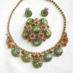 Vintage JULIANA Verified D Watermelon Rivoli Margarita Rhinestone Necklace and Brooch with added Earrings Demi Parure Set