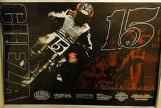 """AMA PRO FLAT TRACK MOTORCYCLE POSTER         """"Nichole Cheza #15""""  SIGNED               Measures: 16 1/2"""" x 10 1/2""""         Sponsored by Saddlemen, TCX, K, Shoei, Stauffer Motors, Vortex, and more.         Great addition to anyones sports or Man Cave room.         Condition: Very Good. It has some markings signed by rider, no tears, some curl, and no folds. Non-smoking"""