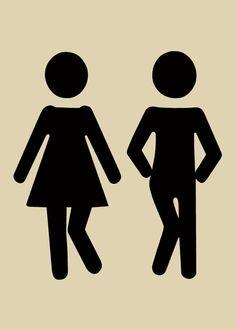 Wee Wee Dance 5x7 The Couple, Restroom Art