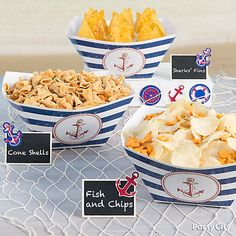 Fish and Chips Idea - Party City Nautical Food, Nautical Mickey, Nautical Theme, Nautical Party Foods, Anchor Baby Showers, Nautical Bridal Showers, Boy First Birthday, Boy Birthday Parties, Sailor Birthday