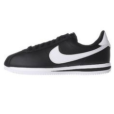 Nike Cortez Basic Leather Mens 819719-012 Black Silver Running Shoes Size 8