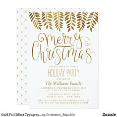 Gold Foil Effect Typography Merry Christmas Party Card