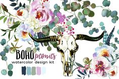 Boho watercolor floral collection includes bouquets, wreaths, floral drops, photo frames, patterns and separate elements. Great for wedding, baby shower invitation cards, greeting cards, printables, wall art, logo, web and blog designs, invitations and many more.