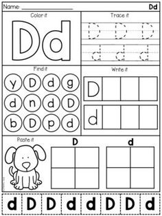 Alphabet Worksheets - Letter Work - Distance Learning by My Teaching Pal Letter D Worksheet, Letter Worksheets For Preschool, Preschool Writing, Homeschool Kindergarten, Alphabet Worksheets, Alphabet Activities, Preschool Learning, Kindergarten Worksheets, Daycare Curriculum
