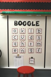 Boggle game bulletin board {idea & printable Boggle form found here at Create*Teach*Share}