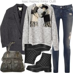 Vanessa Bruno Athé raglan pullover / H M jacket, $160 / Koral skinny leg jeans, $160 / Topshop black leather boots / Free People buckle purse / Maison Scotch scarve, $92