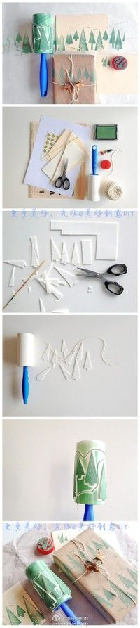 Making a stamp roller with craft foam and a pet hair picker up sticky brush. Interesting idea...Must remember to save cat hair roller when it's empty!