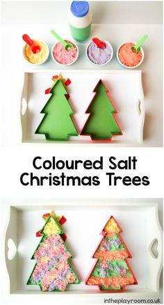 coloured salt christmas tree decorating creative sensory play idea for kids