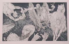 """""""Esculap"""", 1994. Aguafuerte y aguatinta sobre Zinc (1) de 48x29 cm., Papel Fabriano de     300 gr. de medidas 50x70 cm. Ej.: 30"""