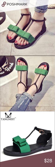 5e2524fdd9411 2017 new style summer shoe Tangnest New 2017 Summer Women Sandals Sweet  Bowtie Women Flat With Sandals Female Buckle Strap Sandals Beach Flat Shoes  ...