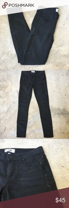 """PAIGE Black Verdugo Ultra Skinny Jeans Gorgeous black jeans with a subtle sparkle detail along the upper legs! EUC, super soft and comfy. Ask any questions! 💕 approx measurements: 15"""" waist, 8"""" rise, 30"""" inseam Paige Jeans Jeans Skinny"""