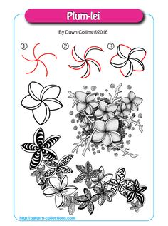 Plum-lei tangle pattern  by Dawn Collins PatternCollections.com
