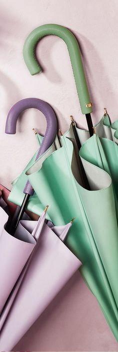 Colourful umbrellas in soft pastel shades from the Burberry S/S14 collection