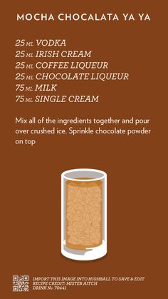 Mocha Chocalata Ya Ya, created with Highball. Drink Bar, Liquor Drinks, Alcoholic Drinks, Party Drinks, Fun Drinks, Beverages, Refreshing Drinks, Cocktail Recipes, Cocktail Drinks