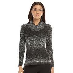 ELLE™ Lurex Turtleneck Tunic Sweater - Women's
