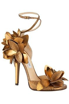 Jimmy Choo 2013 gold leather ankle strap heels sandals