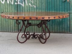 ROUND  COPPER TOP DINING TABLE; RUSTIC, FORGED IRON TABLE BASE