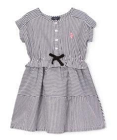 Black Stripe Ruffle Dress - Infant, Toddler & Girls